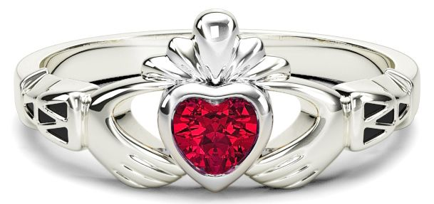 White Gold Red Garnet Claddagh Celtic Knot Ring - January Birthstone