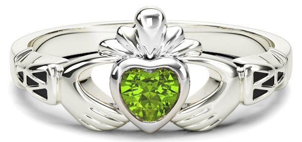 White Gold Peridot Claddagh Celtic Knot Ring - August Birthstone