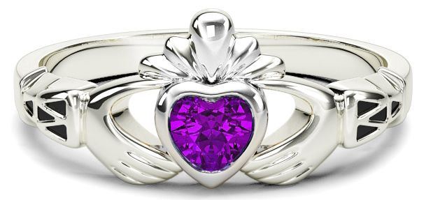White Gold Amethyst Claddagh Celtic Knot Ring - February Birthstone