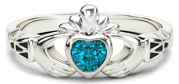 White Gold Aquamarine Claddagh Celtic Knot Ring - March Birthstone