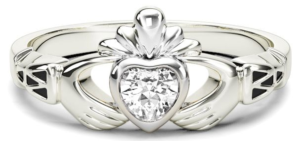 Ladies Diamond White Gold Claddagh Ring