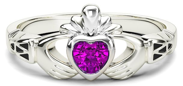 Ladies Pink Sapphire White Gold Claddagh Ring