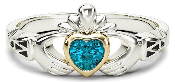 Ladies Aquamarine Silver Gold Claddagh Ring