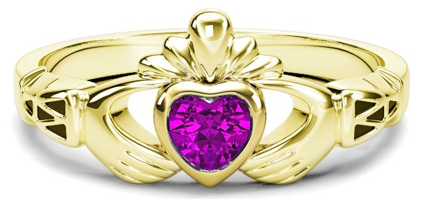 Ladies Pink Sapphire Gold Claddagh Ring