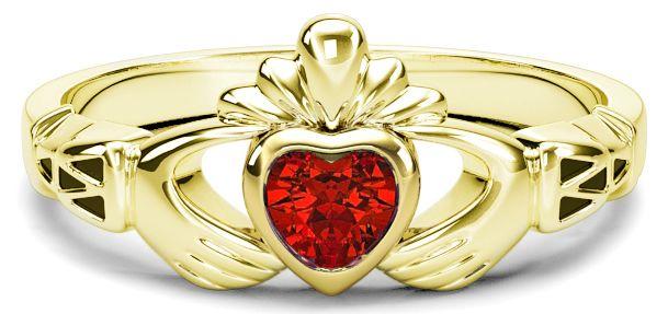 Ladies Ruby Gold Claddagh Ring