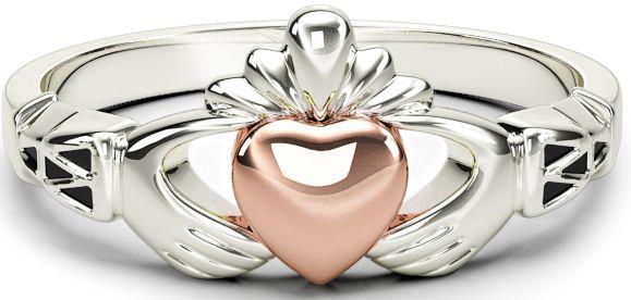 10K/14K/18K Claddagh two tone White & Rose Gold Celtic Knot Ring