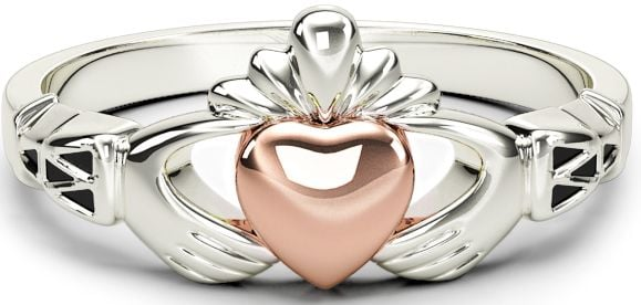 10K/14K/18K Claddagh two tone White & Rose Gold Celtic Knot Ring