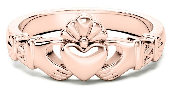 Ladies 14K Rose Gold coated Silver Claddagh Celtic Knot Ring