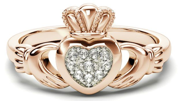 Silver Rose Gold Diamond Silver Claddagh Ring