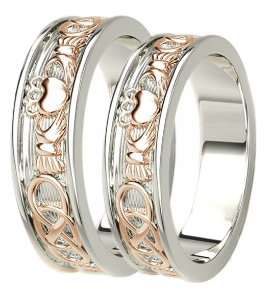 14K White & Rose Gold coated Silver Celtic Claddagh Band Ring Set