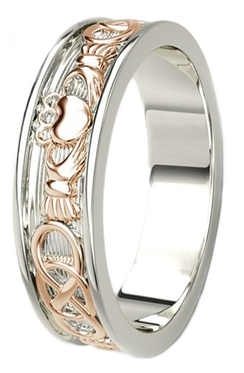 14K White & Rose Gold coated Silver Celtic Claddagh Band Ring Ladies