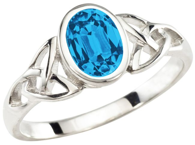 Ladies Blue Topaz Silver Celtic Trinity Knot Ring - December Birthstone