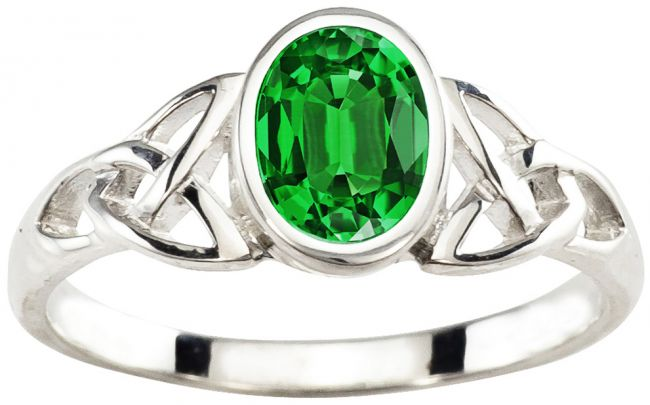 Silver Emerald Celtic Knot Ring - May Birthstone