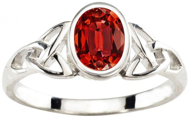 Ladies Garnet Silver Celtic Trinity Knot Ring - January Birthstone
