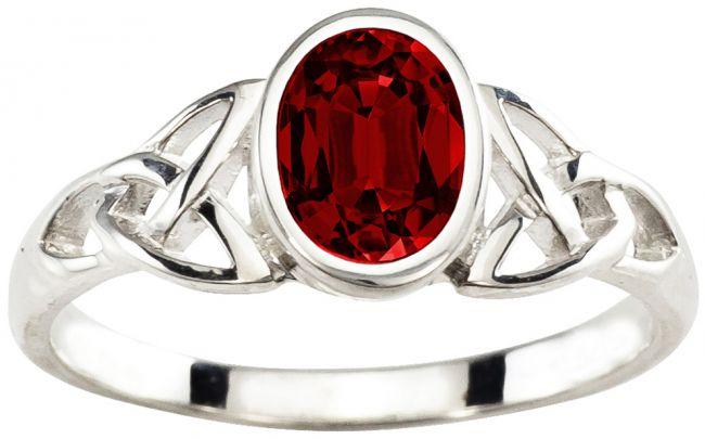 Ladies Ruby Silver Celtic Trinity Knot Ring - July Birthstone
