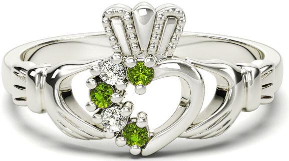 Ladies Peridot Diamond Silver Claddagh Ring - August Birthstone