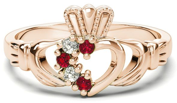 Rose Gold Natural Ruby Diamond Claddagh Ring - July Birthstone