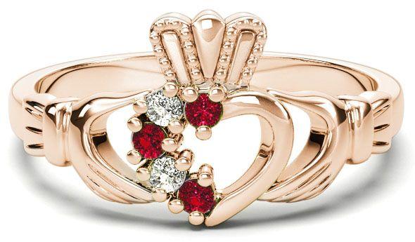 Rose Gold Natural Ruby Diamond Claddagh Ring - July Birthstone