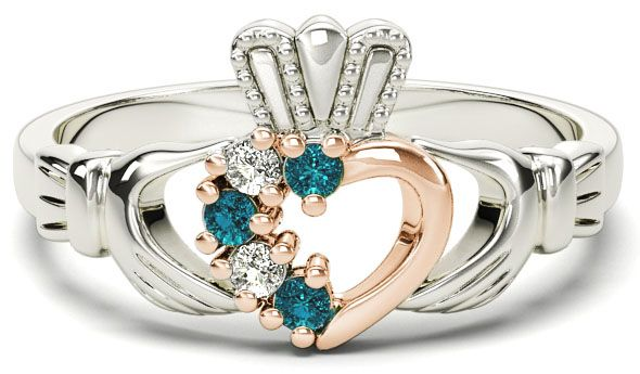 White and Rose Gold Natural Aquamarine Diamond Claddagh Ring - March Birthstone