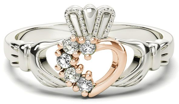 White and Rose Gold Natural Diamond .075 cts Claddagh Ring - April Birthstone