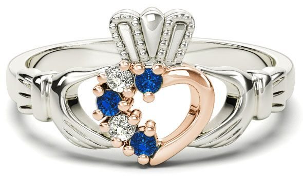 White and Rose Gold Natural Sapphire Diamond Claddagh Ring - September Birthstone