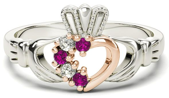 White and Rose Gold Natural Pink Sapphire Diamond Claddagh Ring - October Birthstone