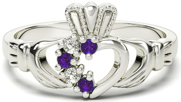 Ladies Alexandrite Diamond Silver Claddagh Ring - June Birthstone