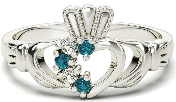 Ladies Aquamarine Diamond Silver Claddagh Ring - March Birthstone