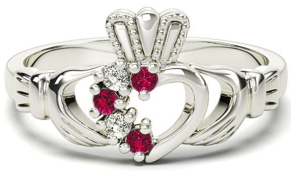 Ladies Garnet Diamond Silver Claddagh Ring - March Birthstone