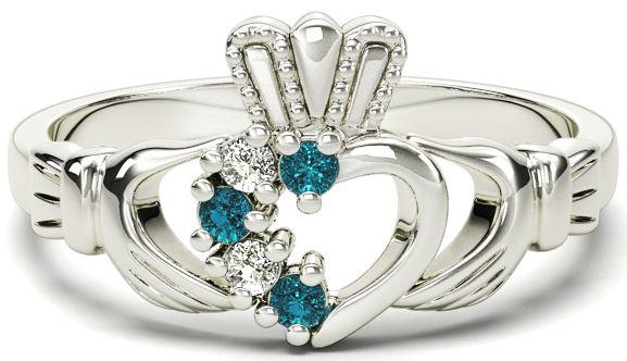 Ladies Toapaz Diamond Silver Claddagh Ring - March Birthstone