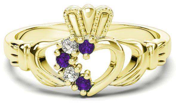 Gold Natural Alexandrite Diamond Claddagh Ring - June Birthstone