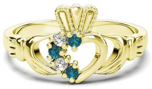Gold Natural Aquamarine Diamond Claddagh Ring - March Birthstone