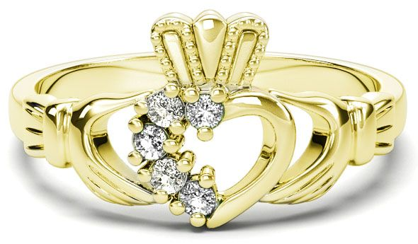 Gold Natural Diamond .075 cts Claddagh Ring - April Birthstone