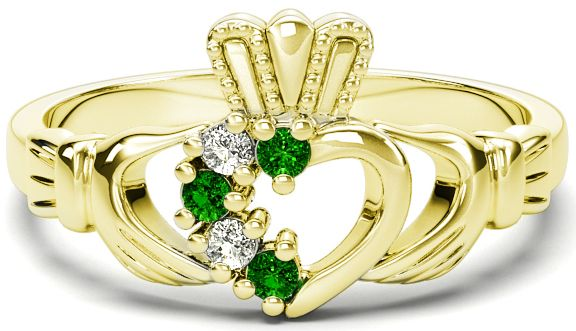 Ladies Emerald Diamond 14K Yellow Gold Silver Claddagh Ring - May Birthstone