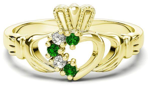 Gold Natural Emerald Diamond Claddagh Ring - May Birthstone