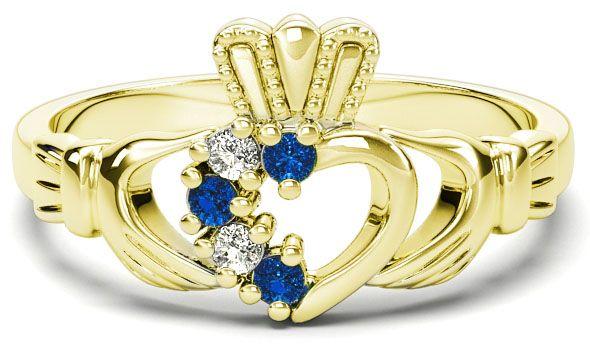 Gold Natural Sapphire Diamond Claddagh Ring - September Birthstone