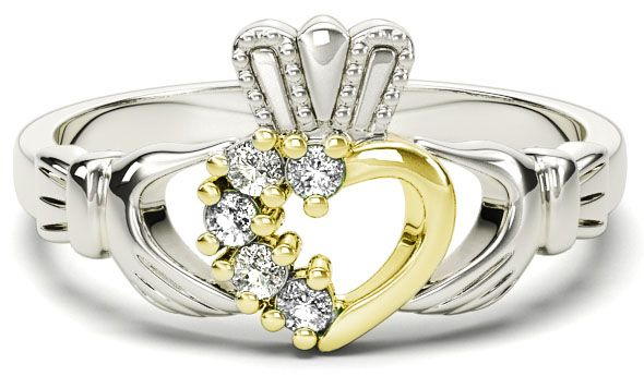 Silver & Solid Yellow Gold Diamond Claddagh Ring - April Birthstone