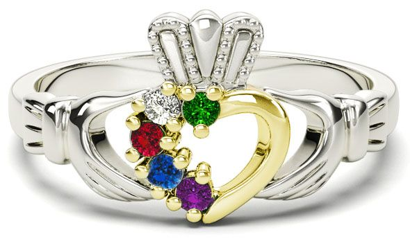 White & Yellow Gold Mother's Birthstone Claddagh Ring