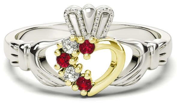 White and Yellow Gold Natural Ruby Diamond Claddagh Ring - July Birthstone