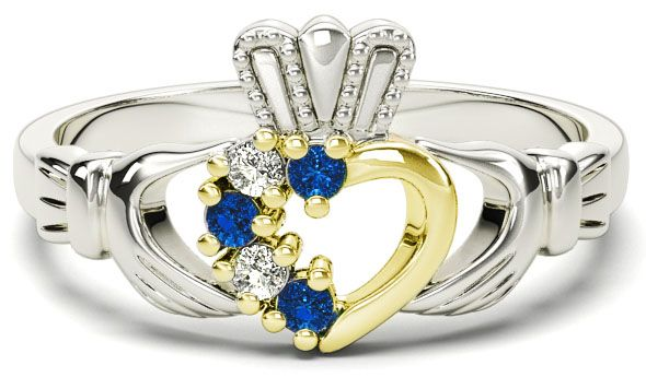 White and Yellow Gold Natural Sapphire Diamond Claddagh Ring - September Birthstone