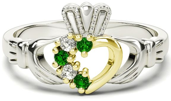 Ladies Emerald Diamond Two Tone Gold Silver Claddagh Ring - May Birthstone