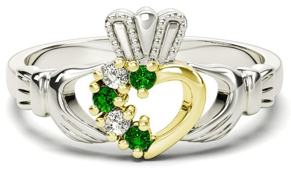 White and Yellow Gold Natural Emerald Diamond Claddagh Ring - May Birthstone