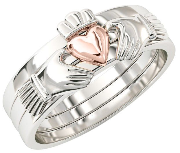 Three Part Stackable Silver 14K Rose Gold Claddagh Ring - For the Girl with a Heart of Gold