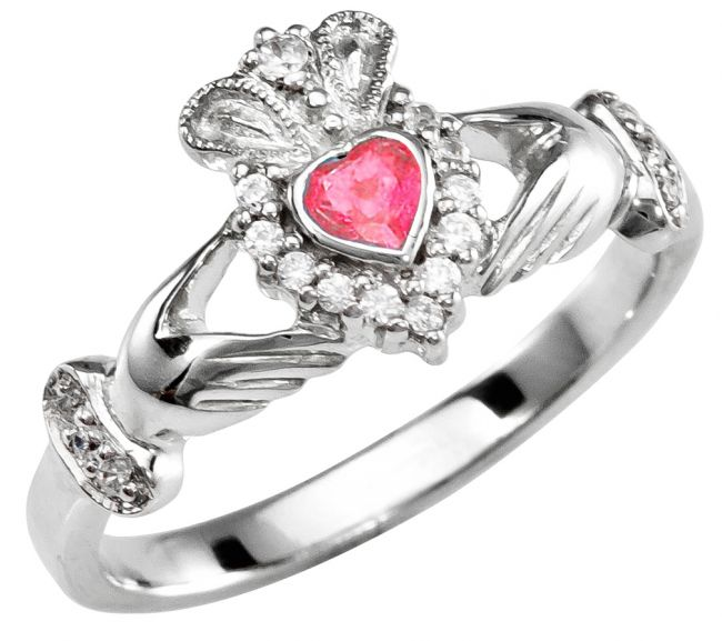 Ladies 10K/14K/18K Solid White Gold Ruby Claddagh Ring