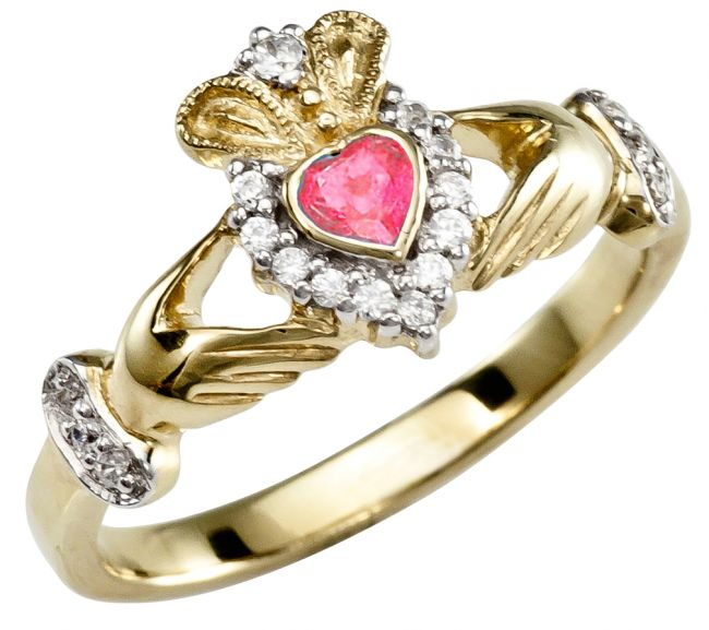 Ladies 10K/14K/18K Yellow Gold Diamond and Ruby Claddagh Ring