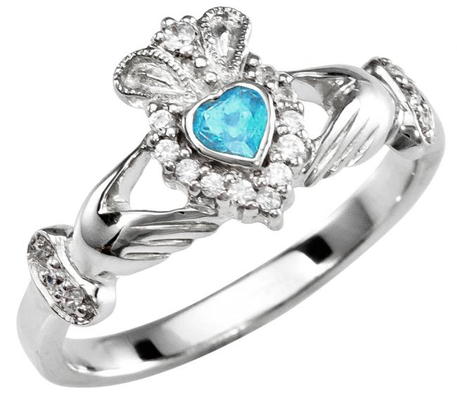 March Birthstone Silver Claddagh Ring