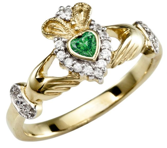 Ladies Emerald Diamond Silver Claddagh Ring - May Birthstone