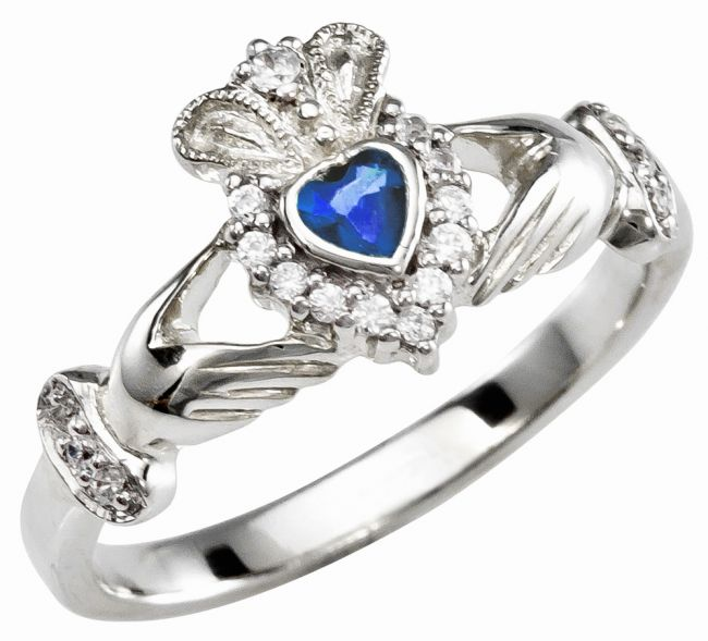 Ladies 10K/14K/18K Solid White Gold Sapphire Claddagh Ring