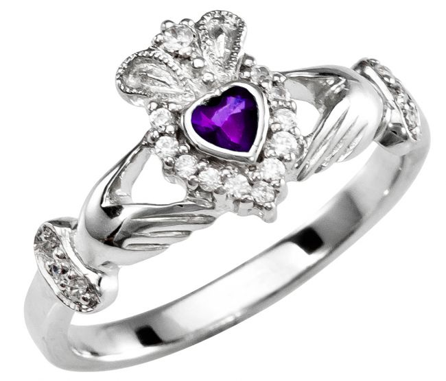 February Birthstone 10K/14K/18K Solid White Gold Claddagh Ring