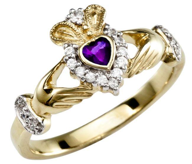 February Birthstone 10K/14K/18K Yellow Gold Claddagh Ring